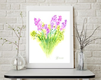 Watercolor Lilac Print botanical artwork watercolor painting flower nature lover gift  watercolour art bouquet Lilac