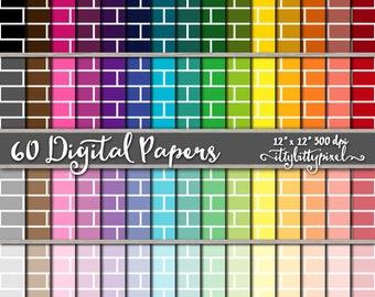 Brick Scrapbook Paper, Brick Scrapbooking Paper, Brick Digital Paper, Brick Texture Pattern Backgrounds, Lattice, Brick Paper, Brick Wall