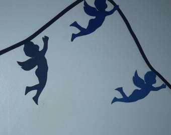 Garland of angels in shades of Blue Suede