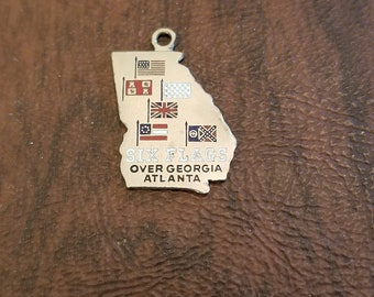 Vintage Sterling Silver Six Flags Over Georgia Charm/Pendant,  Souvenir Figural Charm of the State of Georgia with 6 Enameled Flags