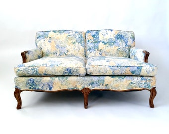 French Sofa, French Furniture, French Country Furniture, French Style Furniture, Provincial Bergere Loveseat Settee Sofa Cabriole Leg Floral