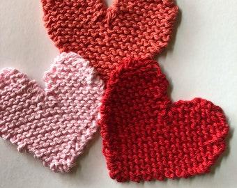 Knit hearts, set of 3 knit heart appliqués