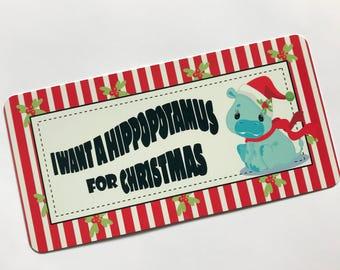 Christmas Sign - Hippopotamus Sign - Wreath Sign  - Wreath Attachment