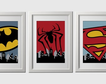 Superhero wall art PRINTS, PRINTED super hero wall decor, set of 3, superhero prints, wall decor, spiderman, superman, batman