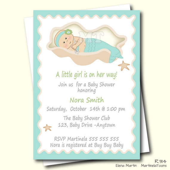 Delightful DIY Mermaid Baby Shower Invitation Aqua Blue Under The Sea