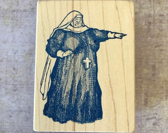 Vintage Rare Jack Keely for Rubberland Nun Pointing Wood Mounted Rubber Stamp