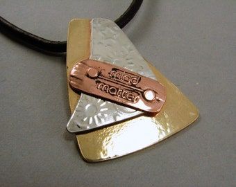 Mixed Metals Pendant Necklace, MInd over Matter, Red Brass, Sterling Silver and Copper