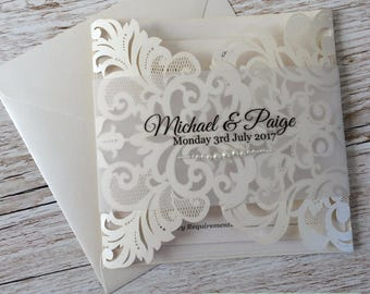 Lace and Pearls Laser Cut Wedding Invitation sample