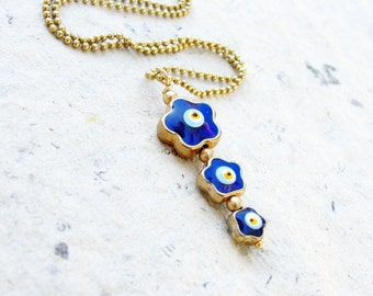 Evil Eye Necklace Flower Enamel Gold plated