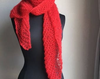 Shawl / scarf red silk, wool and mohair