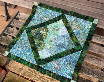 CLEARANCE SALE Quilted Batik Table Topper or Wall Hanging, Freshwater