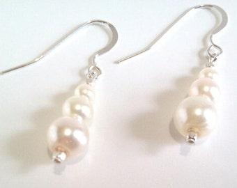 White Pearl Earrings, Sterling Silver Bridal Dangle Earrings, Wedding Jewelry, White Glass Pearl Drop Earrings