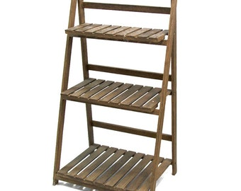 1 x Natural Wood Rustic Ladder Shelf - Fully Collapsible
