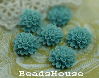 37-00-CA   6pcs Beautiful Crysanthemum Cabochon - Aqua