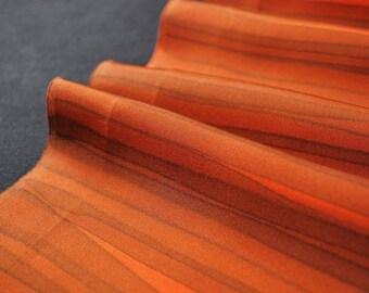 "14.5""w. x 41.9""l. Japanese vintage silk kimono fabric orange horizontal stripes 3111B"