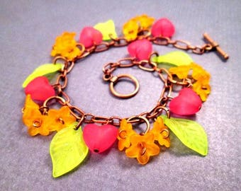 SALE - Flower Charm Bracelet, Orange Blossoms, Colorful and Copper Beaded Bracelet, FREE Shipping U.S.