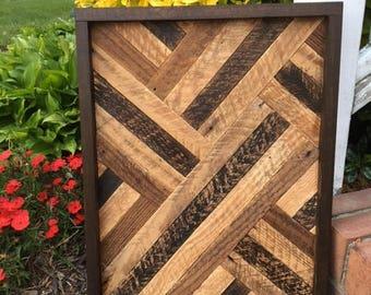Lath Art, Neutral Colors, Wall Decor, Reclaimed Wood, Rustic Decor, Salvaged Wood, Wood Art, Geometic Art, Upcycled Wood, Housewarming Gift