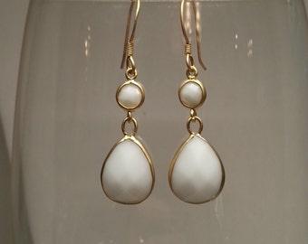 White agate gold plated sterling silver teardrop dangling earrings.