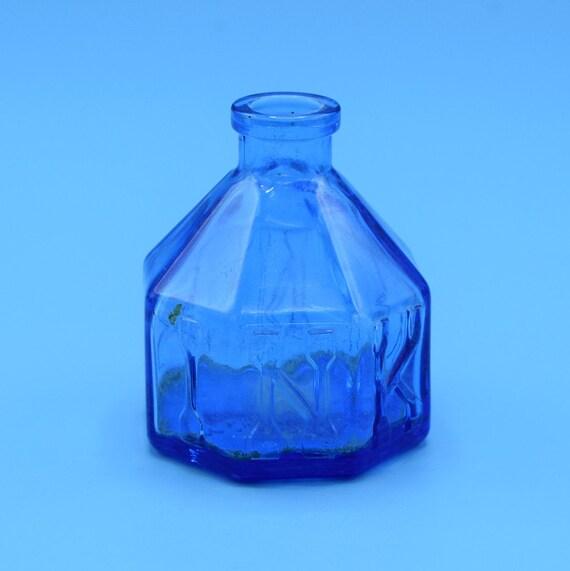 Wheaton Blue Ink Bottle Vintage Small Glass Inkwell Octagon Shaped Ink Bottle Wheaton NJ Cobalt Blue Glass Bottle Desk Accessory