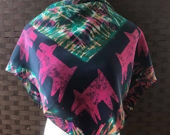 Whimsical Scarf/  Vintage Scarf/ Fashion Scarf/ Vintage Accessories/ Polyester Scarf/ Fashion Accessories/ Vintage Scarves/ Scarves