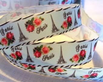 Printed grosgrain Ribbon * 22 mm * PARIS EIFFEL Tower pink flowers / blue-grey - sold by the yard