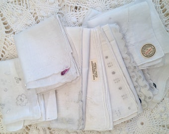 Vintage Linen Madeira Handkerchief Collection - Hand Emroidery Linen - Set of 10 - New Old Stock - New with Tags