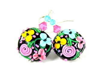 Colorful Floral Glass Dangle Earrings, Pink Turquoise Blue Yellow Black Botanical Earrings, Bright Color Jewelry, Lampwork Flower Earrings