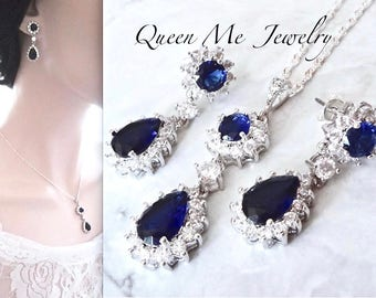 Blue sapphire jewelry set, Earrings and necklace set, Cubic Zirconia's, Halo, Something Blue, Brides jewelry set, Wedding jewelry set, KATE
