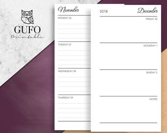 Filofax Personal Inserts, 2018 Weekly Planner, Printable Week on 2 Pages (WO2P), Dated Agenda, Horizontal Lined, Kikki K, DIY/ Dated Weekly