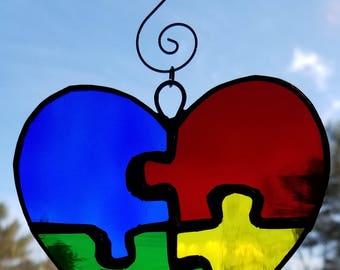 Stained Glass Autism Puzzle Piece Heart Suncatcher