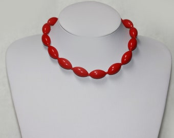 Vintage RED Ovaloid Plastic Bead Necklace Choker signed Germany