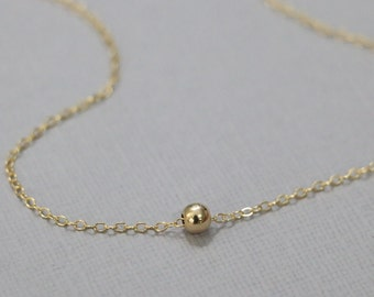 Gold Filled Ball Necklace, Gold Filled Ball Bead on 14k Gold Filled Necklace Chain. Layering Necklace, Gold Layering Necklace, Gift for Her