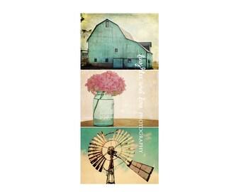 Aqua Farmhouse Photo Print Series, Barn Vintage Windmill Pink Hydrangea Photography, Turquoise Rustic Fixer Upper Style Home Decor Wall Art