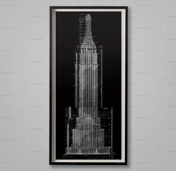 Empire state building blueprints architecture plans like this item malvernweather