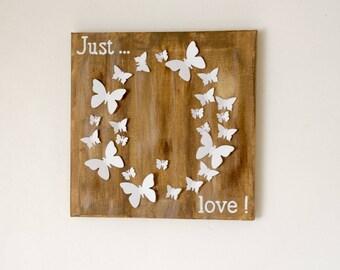 Wooden framed Canvas 3D butterflies