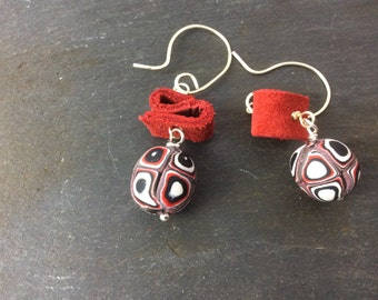 Mixed media earrings - red, black and white dangle earrings- hook earrings - Polymer clay earrings