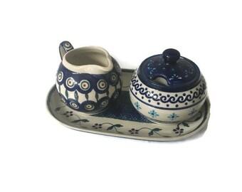 Polish Pottery Boleslawiec Poland Cream, Sugar Bowl and Tray  Dishes Vintage Polish Pottery Set  Boleslawiec Pottery Hand Made in Poland