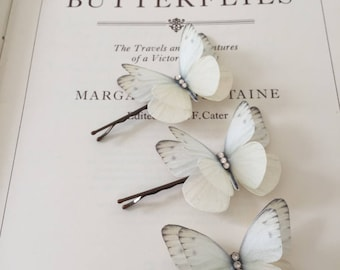 Hand Cut silk butterfly hair pins - Trio of Cream sparkles