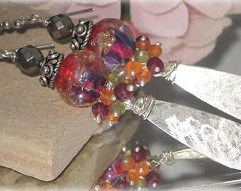 Handmade Opal Lampwork Chalcedony Ruby Silver Dangle Earrings - Bastet's Beads SRA -Opal Embers