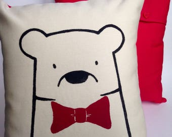 Bear with Bow Tie Cushion Cover