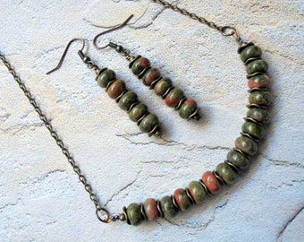 Unakite Necklace and Earrings (3215)