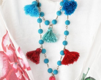 Aqua Bead Strand Necklace - Tassel Necklace Set of 2 - Turquoise Tassel Necklace - Red - Coral - Pink Long Necklace - Free Shipping