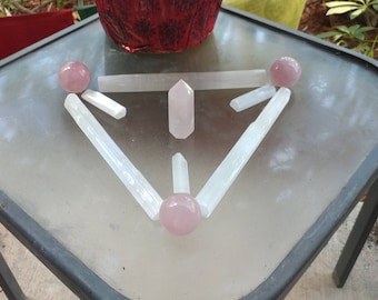 Special Energy Crystal Grid with Selenite, Rose Quartz and Copper