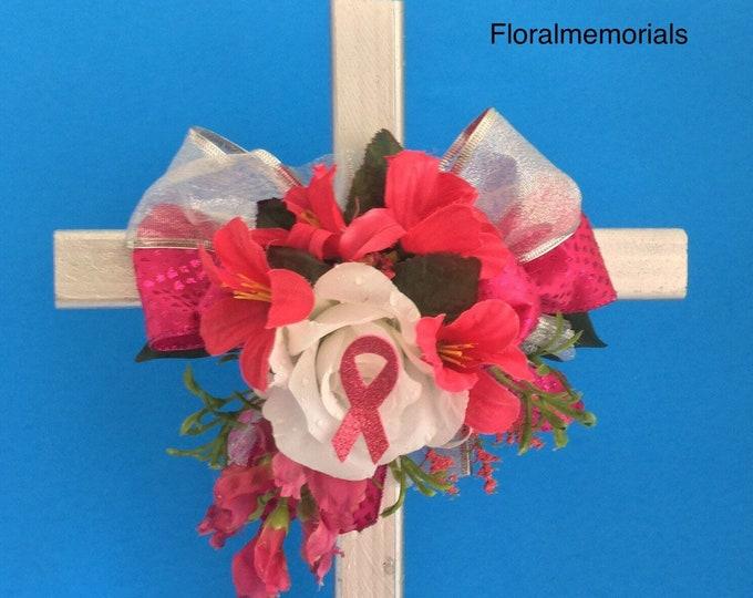 Memorial Breast Cancer pink ribbon Cross , SALE Cemetery Cross, Grave flowers, Roadside Memorial, Grave Marker, Memorial Cross,