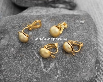 2  PAIR  Clip On Earring with loop bail Unpierced Ear connector Half Ball 22k matte gold Plated Turkish jewellery supplies findings mdla628