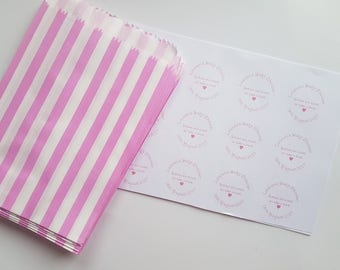 Personalised Stickers and paper sweet bags, Perfect For Weddings, Baby Showers and Parties. Sets of 48, 96 or 144.