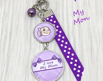 "Key ring, jewel bag, message accessory"" I love my Mom  "", parme color. Sup:101"