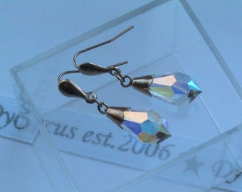 9ct 375 Gold Rainbow Crystal Drop Earrings