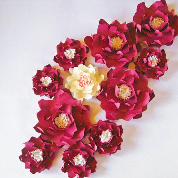 11 big maroon paper flowers wedding backdrop decoration medium zoom mightylinksfo