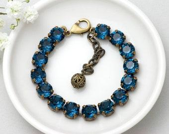 Blue Bracelet, Blue Swarovski Crystal Bracelet, Navy Rhinestone Bracelet, Montana Blue Crystal Jewelry, Crystal Tennis Bracelet, Gorane